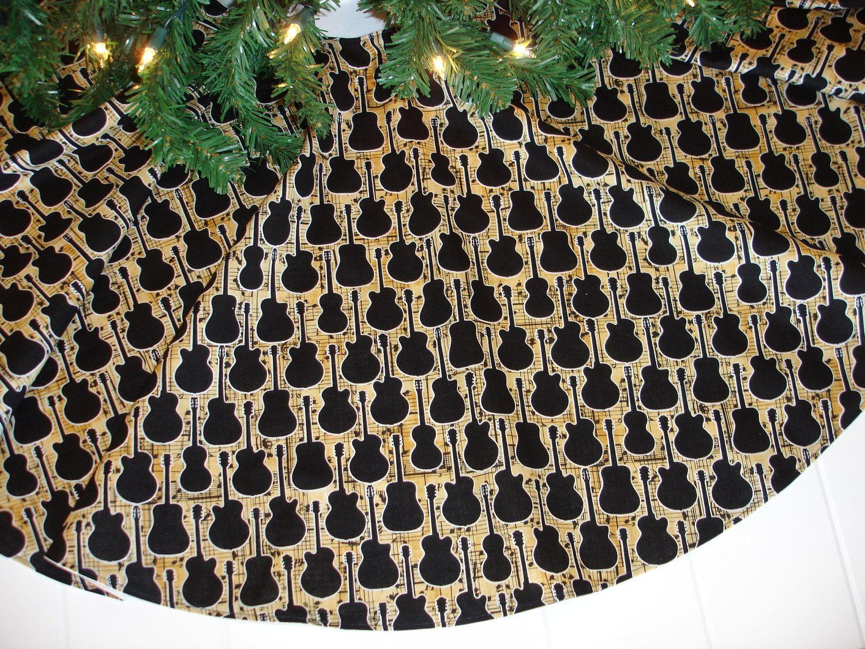 Guitar Christmas Tree Skirt, Music Christmas Tree Skirt