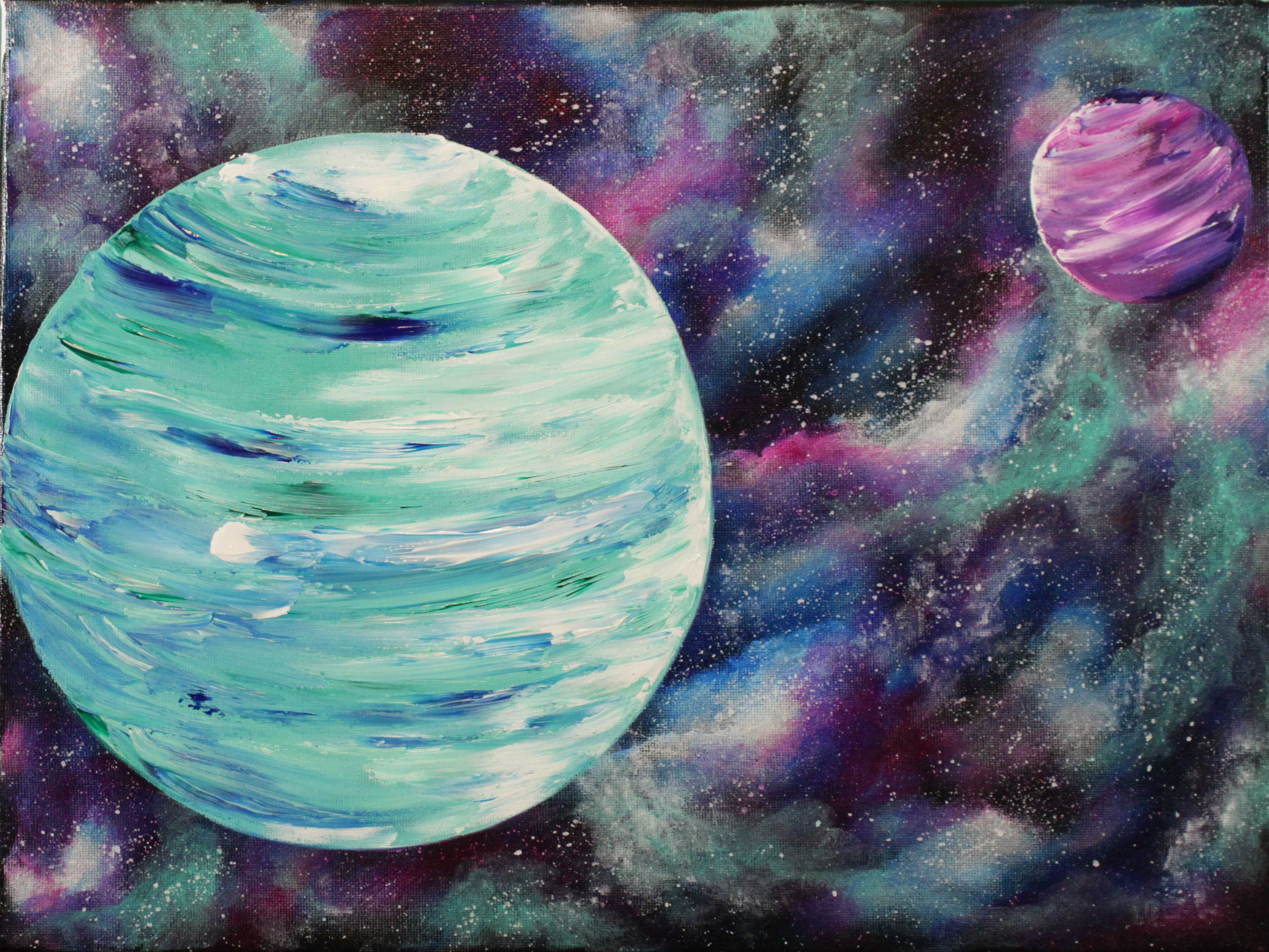 Nebula And Planets Step By Step Acrylic Painting On Canvas