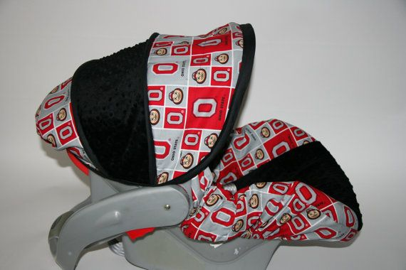 Ohio State With Black Minky OSU Infant Car Seat Cover Custom Order By
