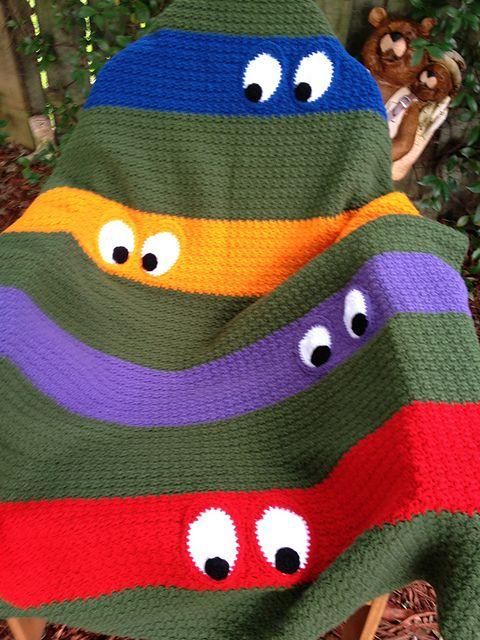 Free Crochet Teenage Mutant Ninja Turtle Pattern : Ravelry: kathy862s Teenage Mutant Ninja Turtle Blanket ...