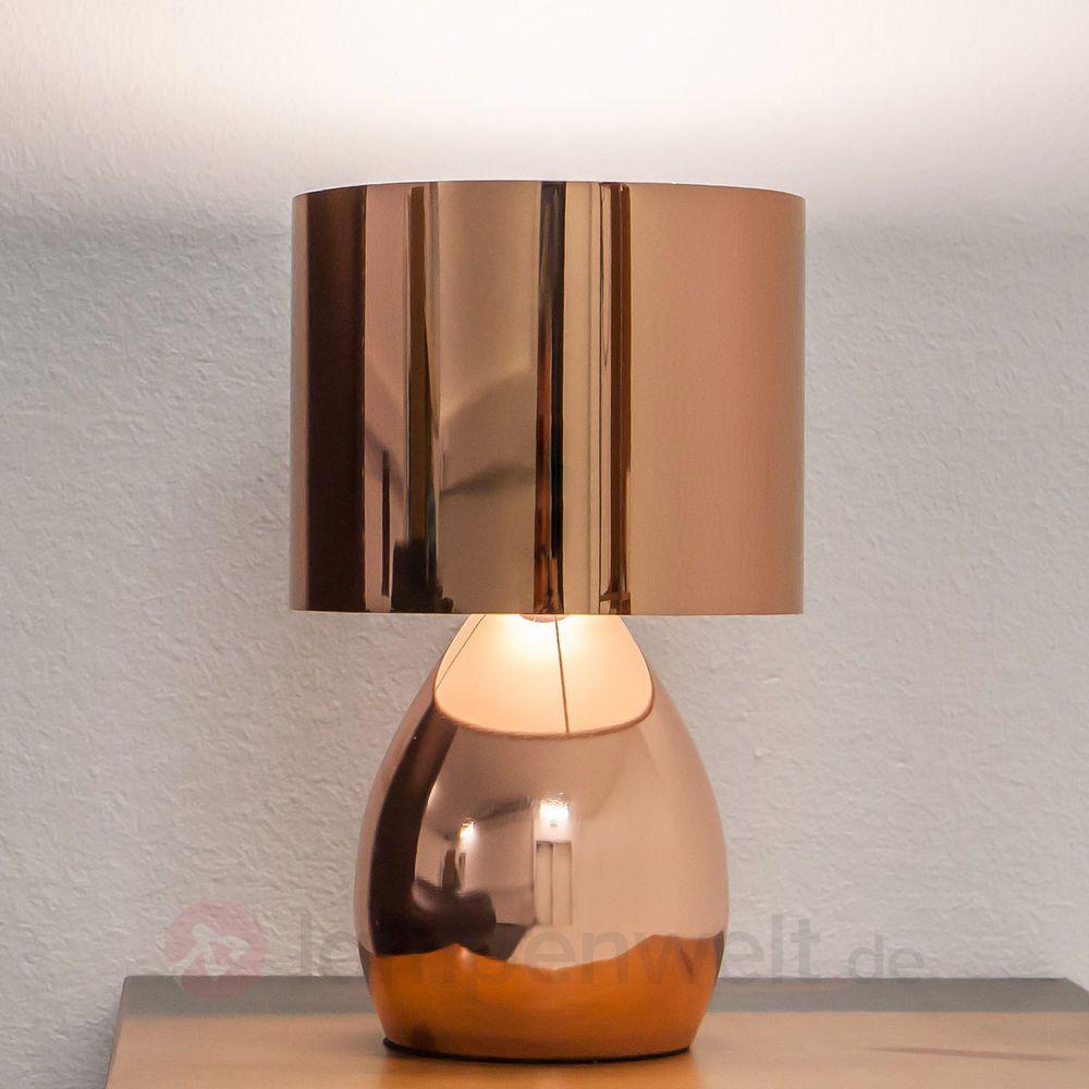 Attraktiv Coole Nachttischlampe Sammlung Von Led-tischleuchte Jenna Kupfer Glänzend Flur Tischlampe E14