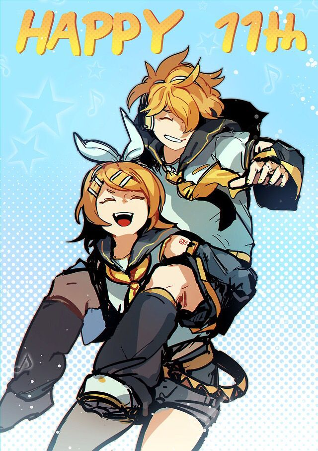 Vocaloid anime kagamine boy girl blonde hair blue eyes