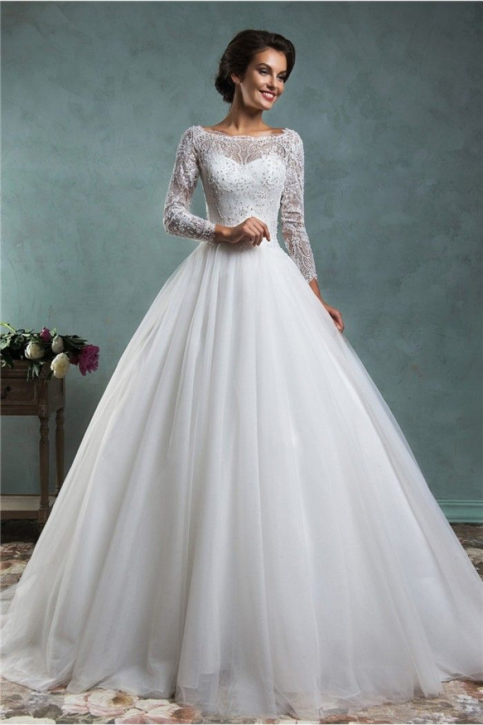Low V Back Wedding Dresses : Dresses beaded wedding sleeve gown