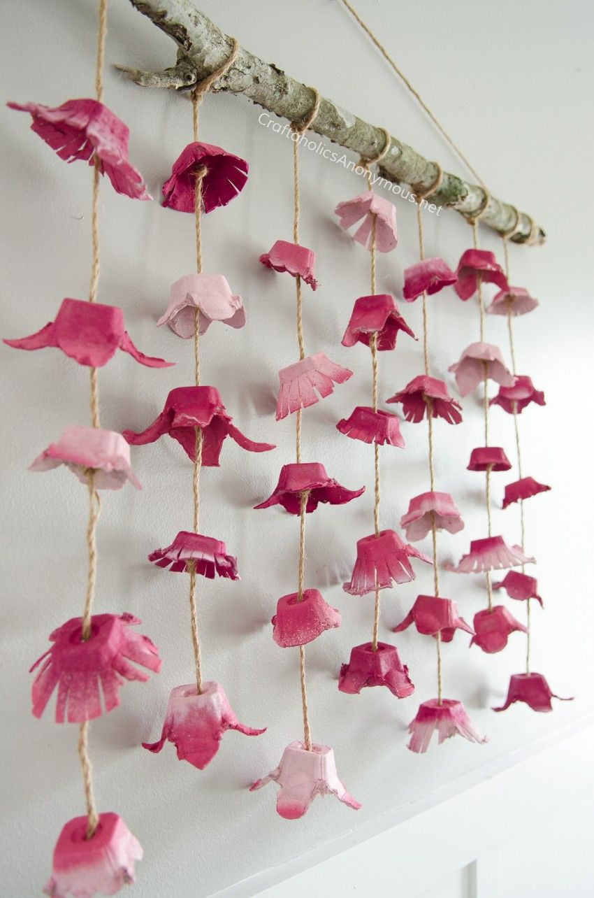 Boho flower wall hanging made from egg cartons egg Egg carton flowers ideas