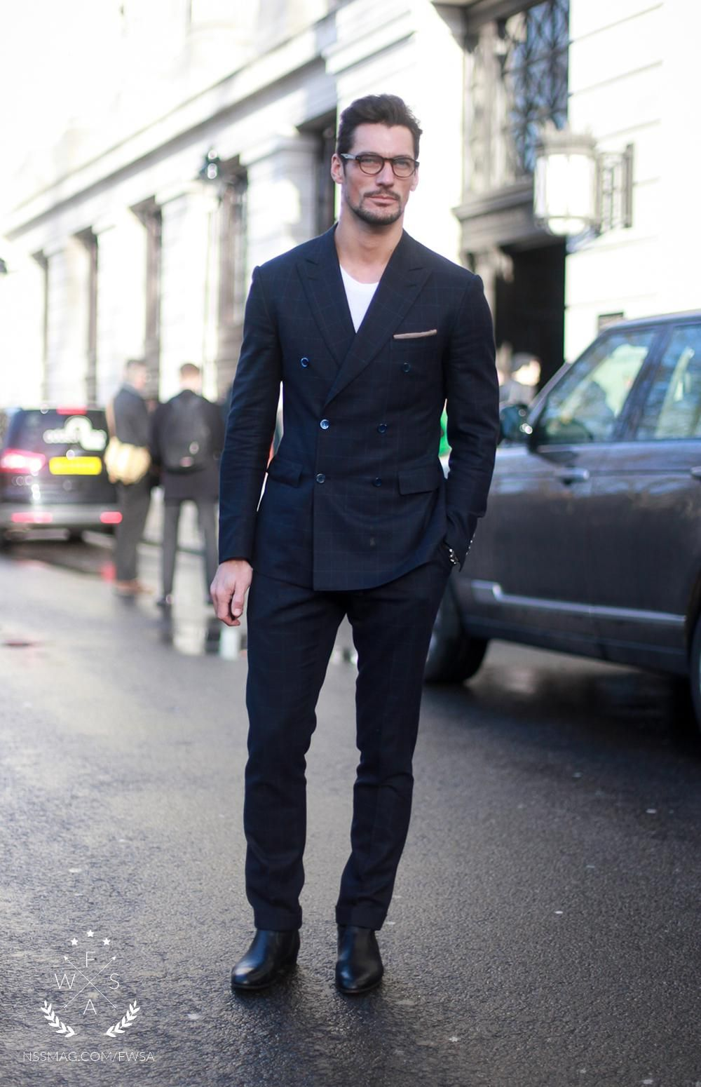 David Gandy wearing Black Check Suit, White Crew-neck T-shirt, Black  Leather Chelsea Boots, Beige Pocket Square