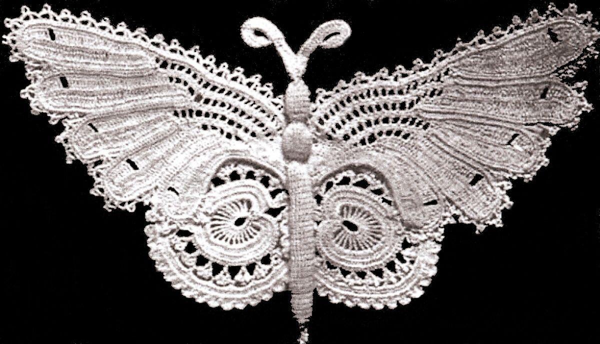 Vintage Crochet PATTERN to make Irish Crochet Butterfly Motif ...