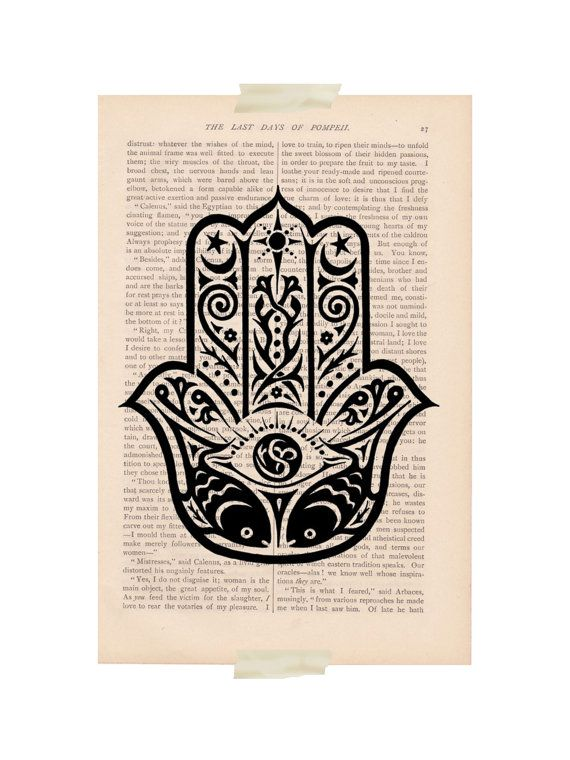 Dictionary art vintage Hamsa by #ExLibrisJournals