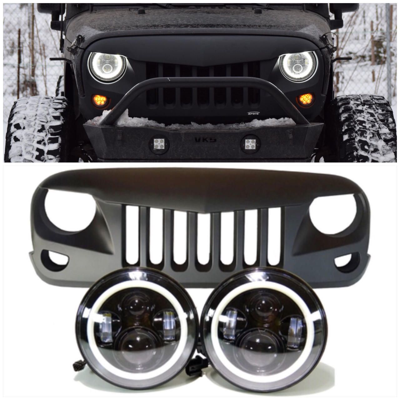 Jeep Jk Projector Headlights Halo Eagle Eye Grille Combo Pack
