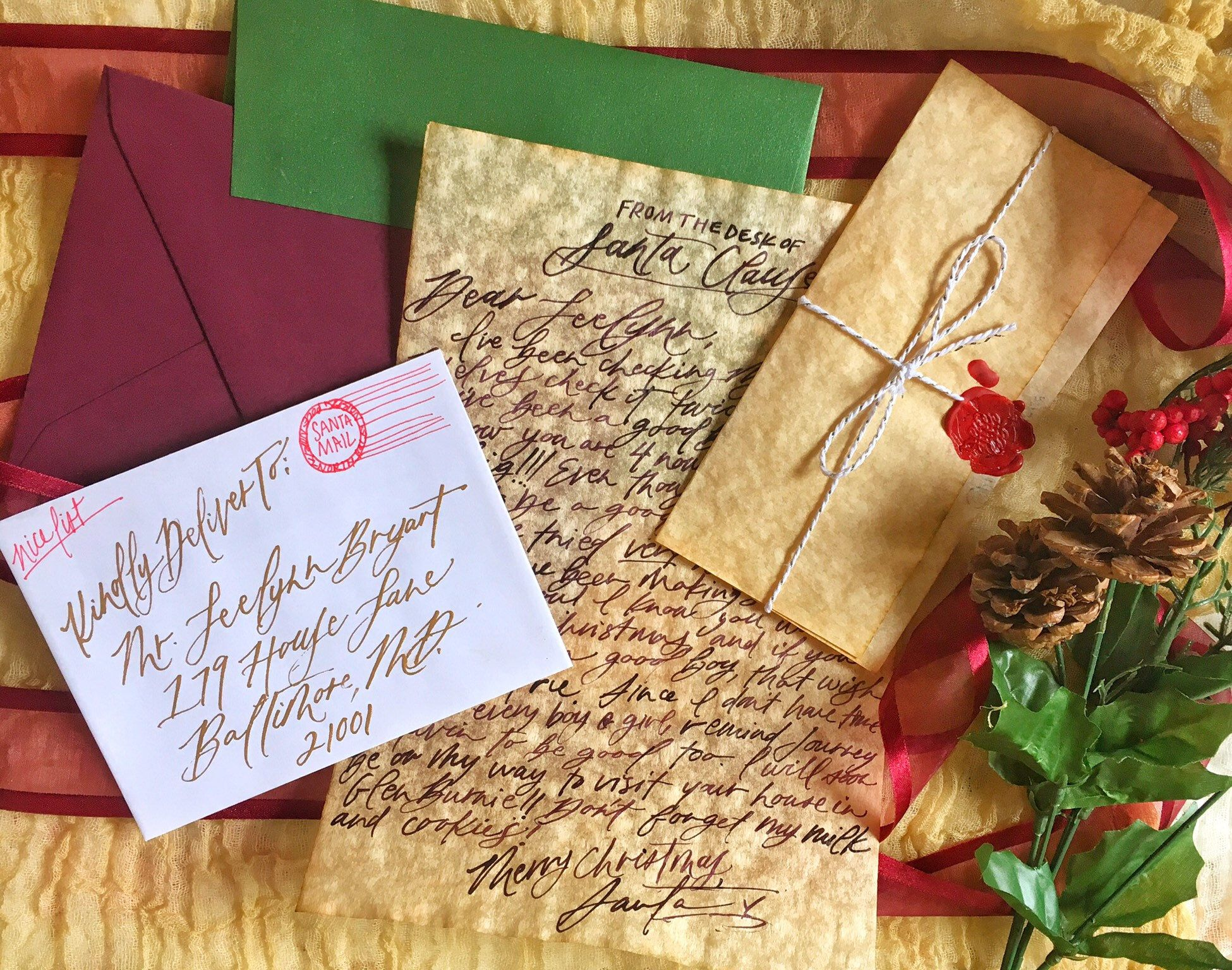 Handwritten Letter From Santa on Parchment Personalized