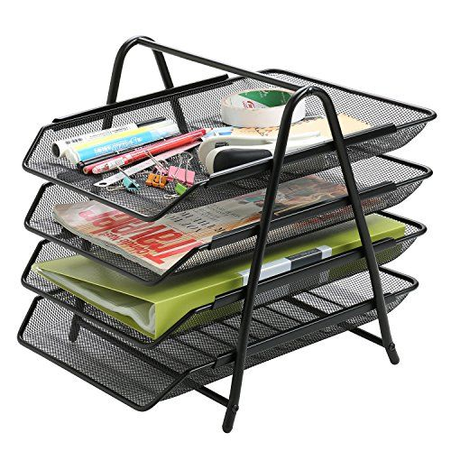 4 Tier Metal Office Desktop File and Document Organizer Trays Magazine Holder Rack Black