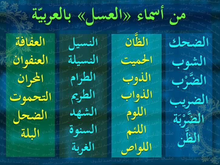 من أسماء العسل في اللغة العربية Learn Arabic Language Arabic Language Learning Arabic