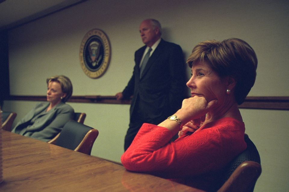 First lady Laura Bush with Vice President Dick Cheney and his wife Lynne  Cheney in the President's Emergency Operations Center on Sept. 11, 2001.