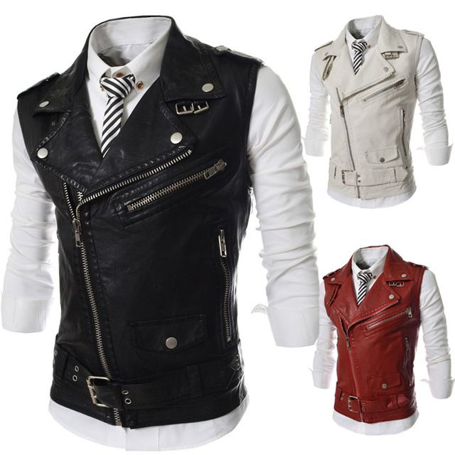 Chaqueta de cuero hombre hombres hombres de la primavera mangas de moda  hombres cuero chaleco chaquetas