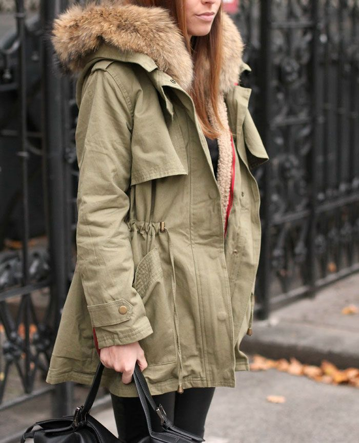 Winter-Parka-Fur-Hood-jacket-street-style-fashion. | Autumn fall ...