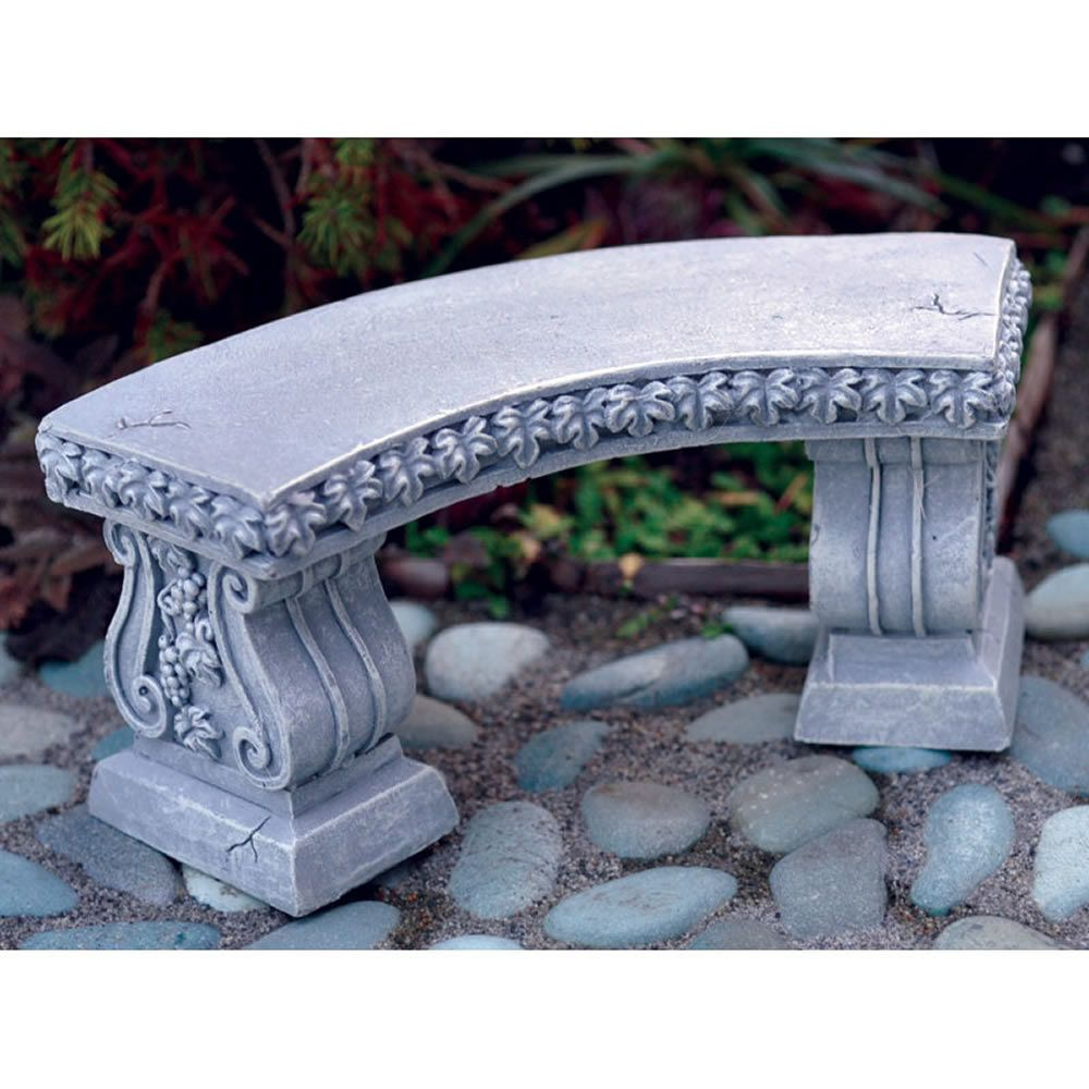 Miniature Dollhouse FAIRY GARDEN Furniture ~ Gray Resin Curved Bench ~ NEW
