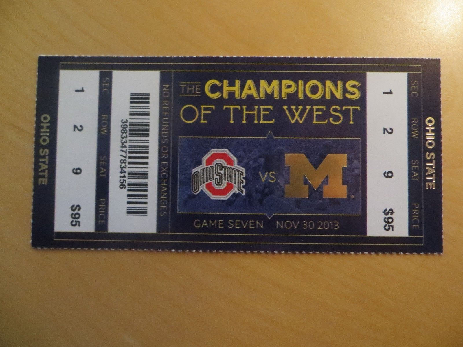 Michigan Football Ticket Stub Vs Ohio State 11 30 2013 Football