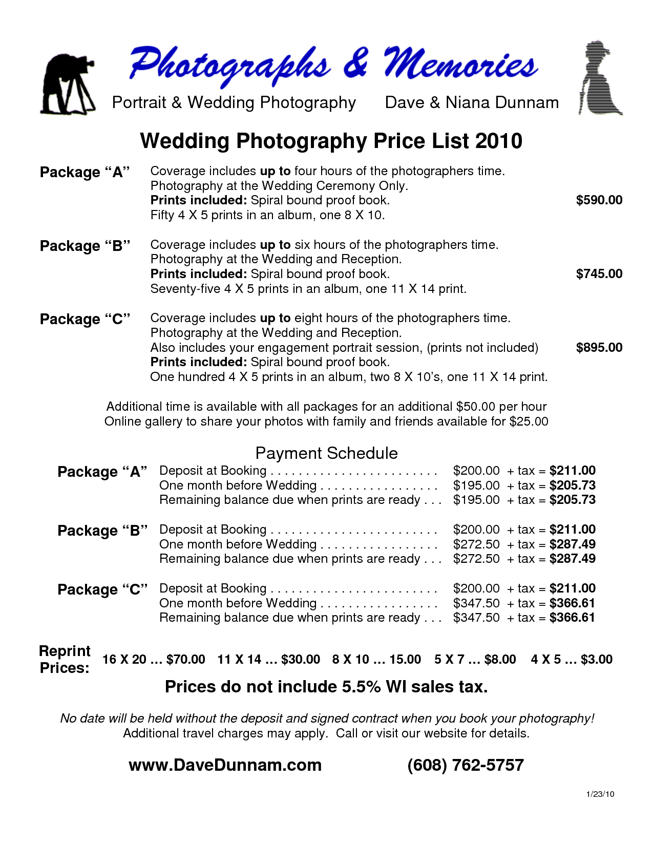 Wedding Photographer Prices Widescreen 6 – Wedding Price List