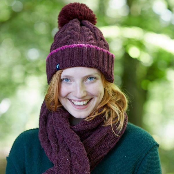 Cranberry ladies knitwear: Aromel chunky knit bobble hat ...