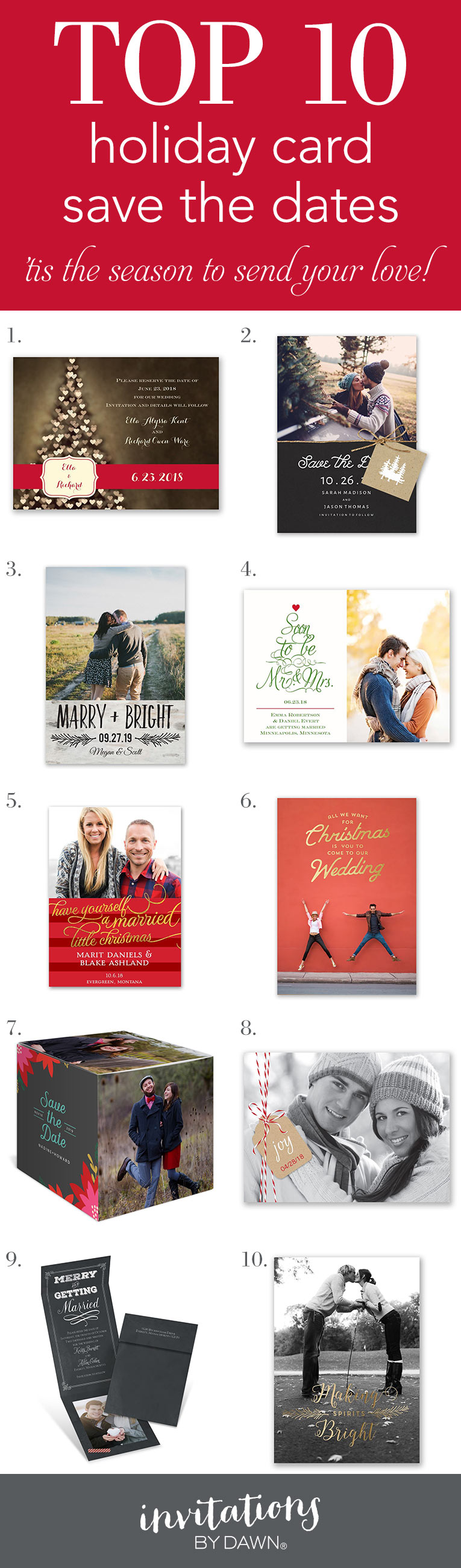 Top 10 Holiday Card Save the Dates   Pinterest   Holidays and Weddings