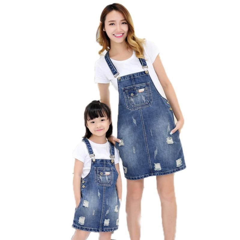 50e6808ee74 2018 Summer denim hole women denim dress family look overalls jean dress mom  and daughter dress matching mother daughter clothes.