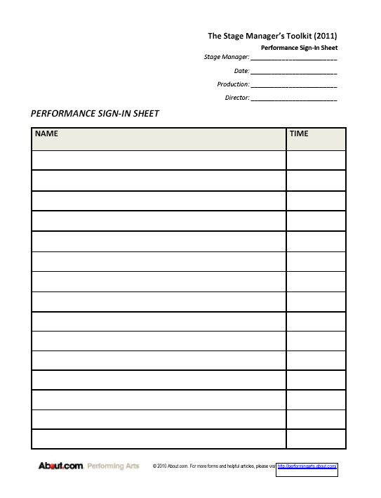 Printable Sign-in Sheets and Checklists for Stage Managers Stage - club sign up sheet template
