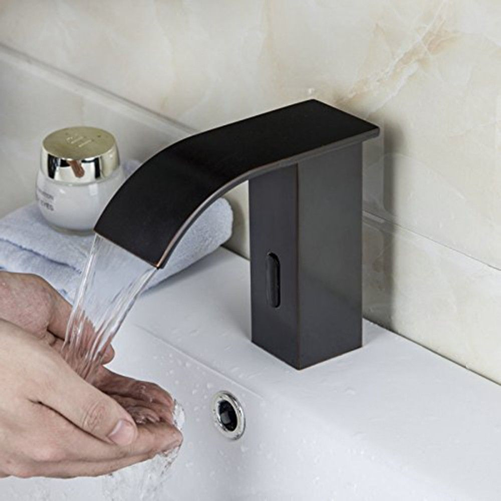 Fapully Sensor Tap Bathroom Black Oil Rubbed Bronze Waterfall