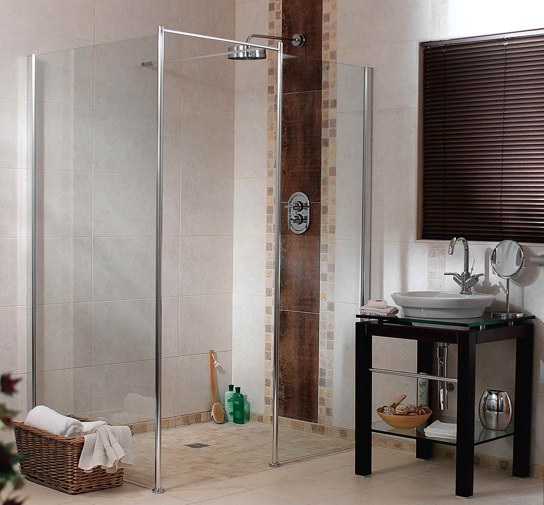 This luxury HSK corner entry shower with twin doors and wetroom ...