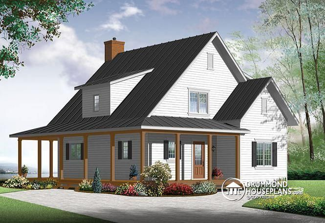 front Beautiful and small new modern farmhouse home plan ...