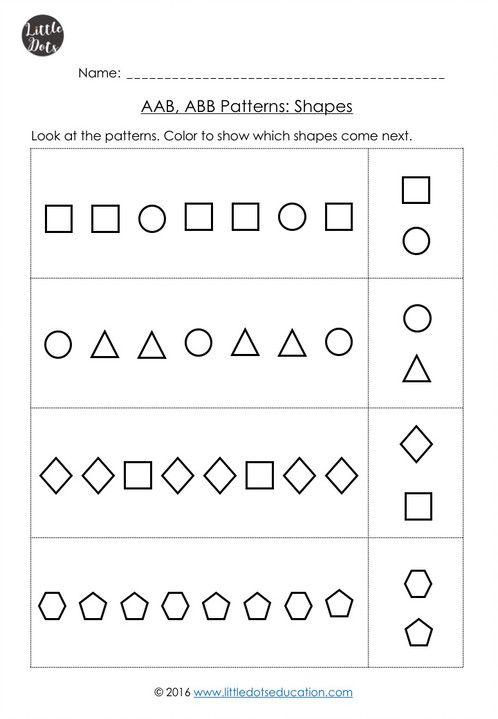 Aab Abb Patterns Worksheets For Kindergarten Pattern Worksheets For Kindergarten Pattern Worksheet Ab Pattern Worksheet Simple pattern worksheets for