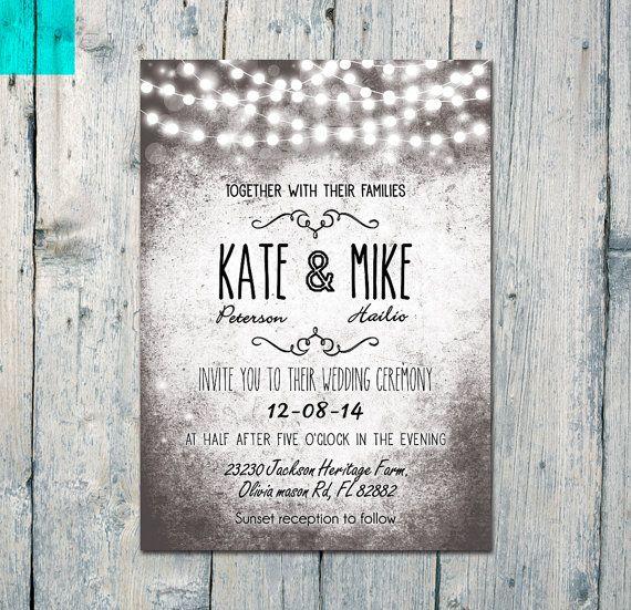 Digital Wedding Invitation Ideas: Digital Printable Files Shining Love Memory By