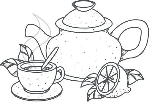 Teapot Cup Of Tea With Lemon Outline Drawing Teteras Dibujo Taza Dibujo Dibujos En Tela