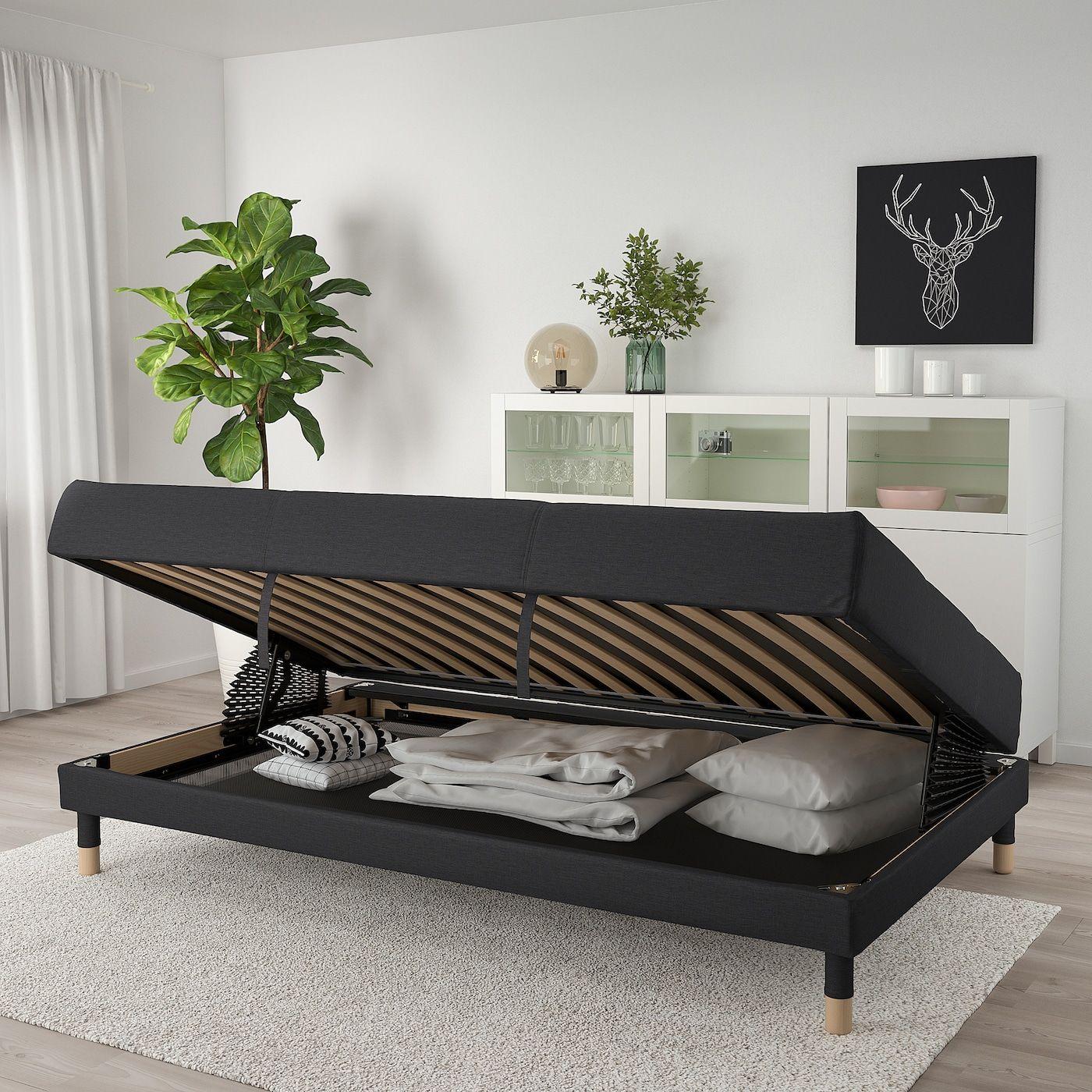 FLOTTEBO Sleeper sofa Vissle dark gray 47 1/4