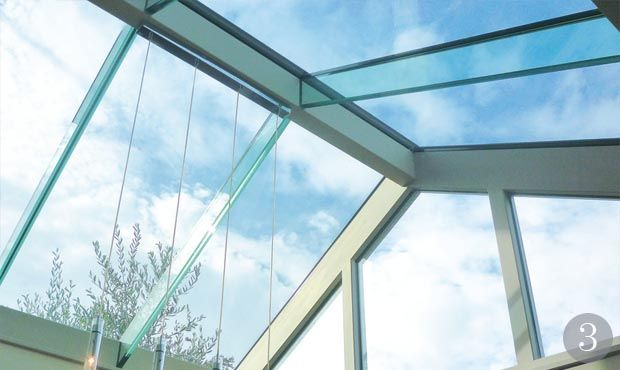 Laminated Glass Roof Rafters Sitting On A Sustainable Sapele Hardwood Frame That Can Be Painted Or Stained T Glass Roof Sliding Folding Doors Skylight Kitchen