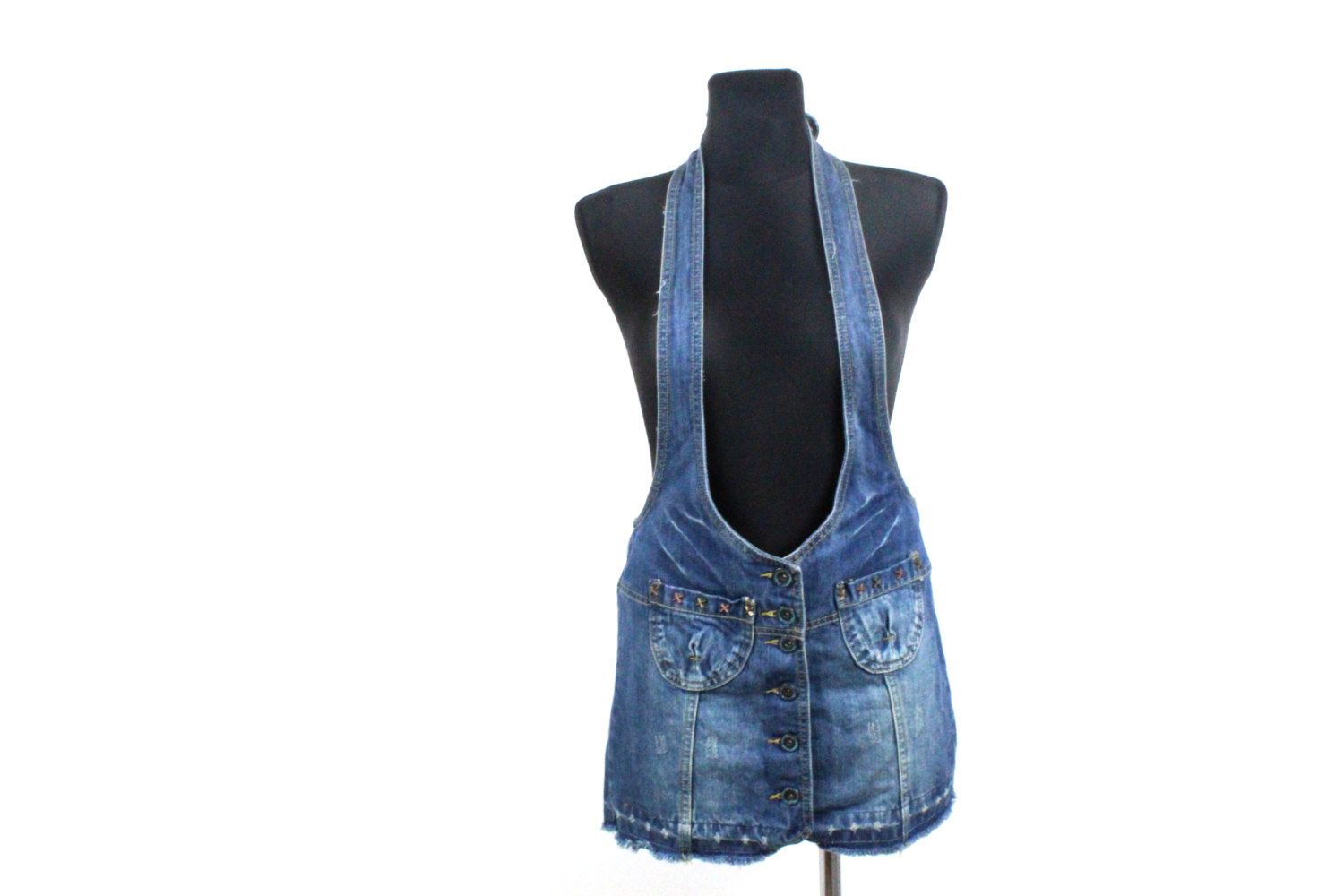 d3c19056c9 Button up Skirtall SARAFAN Blue denim overall Jean dress Grunge Sarafan 90s  Dungaree Vintage Mini skirt   Small Medium by Prettyawesomevintage on Etsy