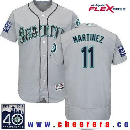 0d18a7fd8 Men's Seattle Mariners #11 Edgar Martinez Retired Gray Road 40TH Patch  Stitched MLB Majestic Flex Base Jersey
