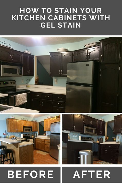 How to Stain Oak Kitchen Cabinets with Gel Stain - A ...