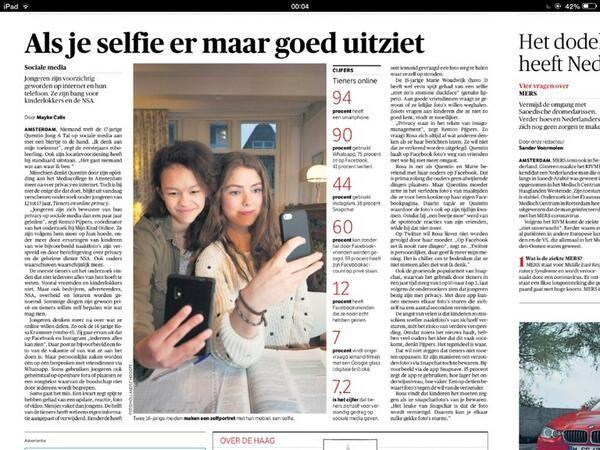 Artikel in NRC nav het onderzoek van Mijn Kind Online over tieners en privacy. #privacybestaatnogsteeds! NRC 15 mei 2014