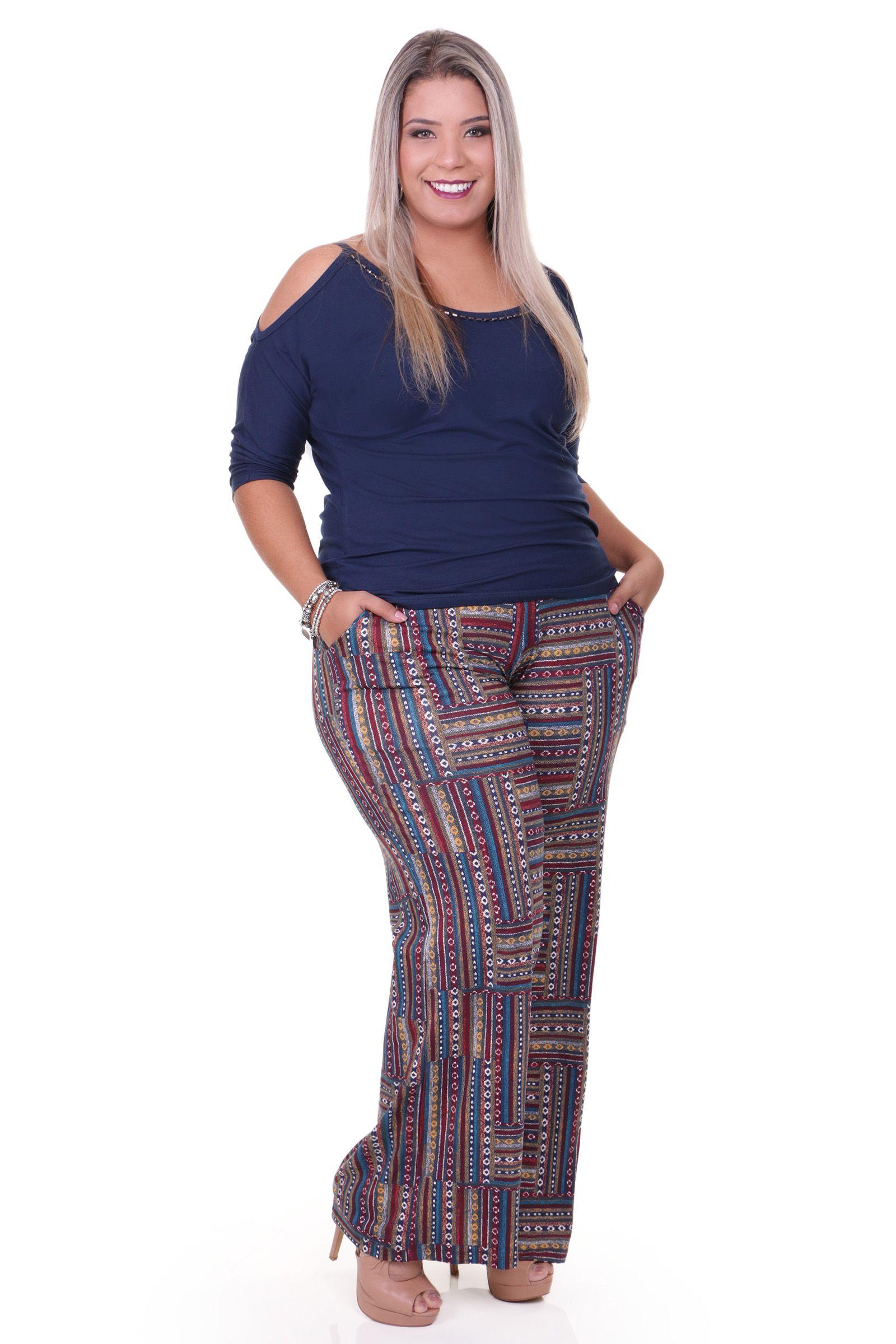 2413dc95a Pantalona estampada Plus Size | Female Fashion: MultiColor Fabric ...