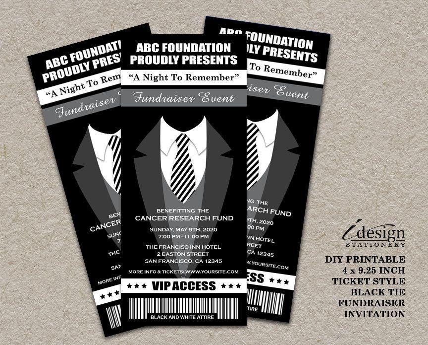 Black Tie Fundraiser Ticket Invitation  Printable Ticket Style