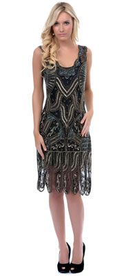 b774910f72f 1920 s Style Black  amp  Gold Beaded Drop Waist Flapper Dress S- 2XL   284.00 Buy