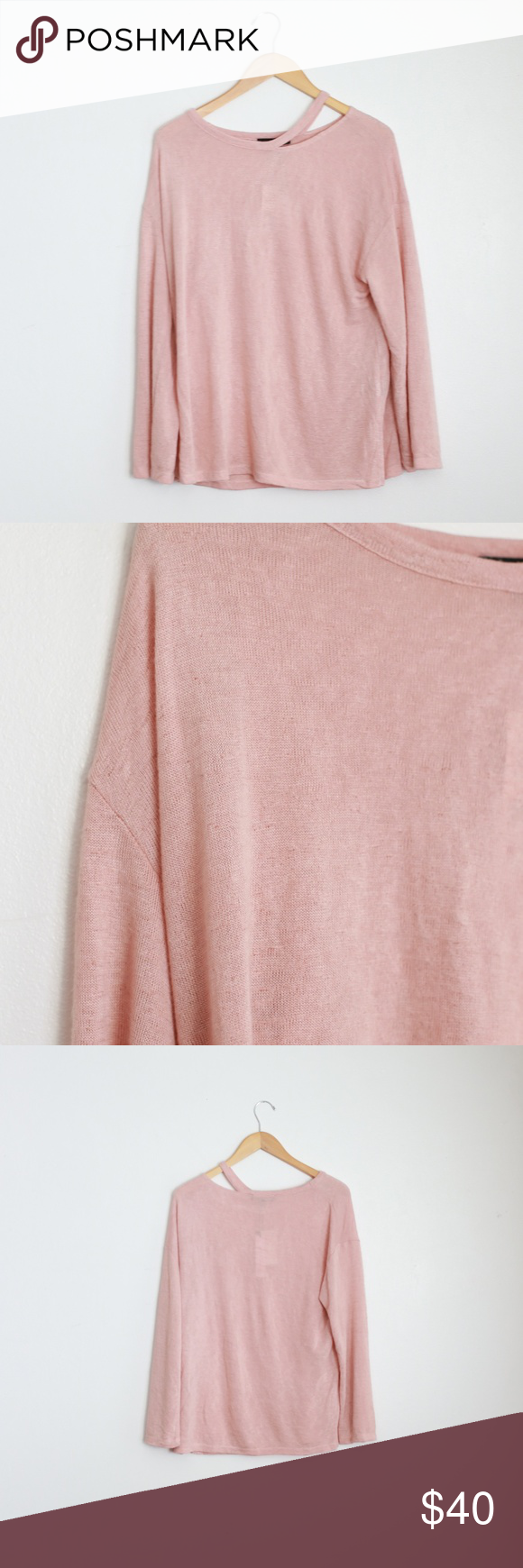 e0ed8ae88 Cute long sleeve sweater with cut out neck by SANCTUARY! Dusty Mauve/blush  pink color Long sleeve Split sides Cut out neck Subtle knit pattern  Straight ...