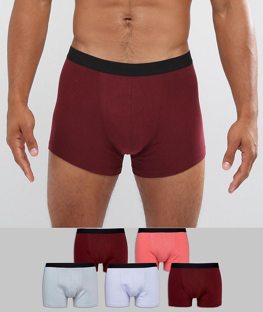 Trunks In Black & Burgundy With Green Branded Waistband 5 Pack - Multi Asos Sale 2018 New Manchester Cheap Price t4qIvRQx3r