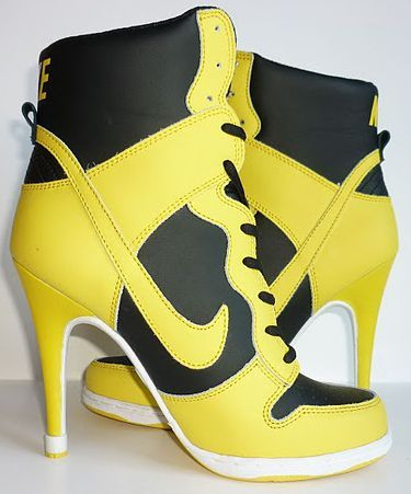 big sale c8d41 6d709 Womens Black and Yellow Nike Heels Dunk SB High | Nike High Heels ...