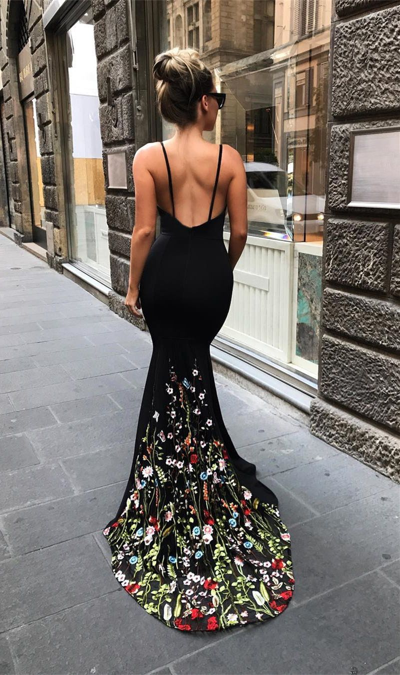 Mermaid vneck court train black stretch satin prom dress with