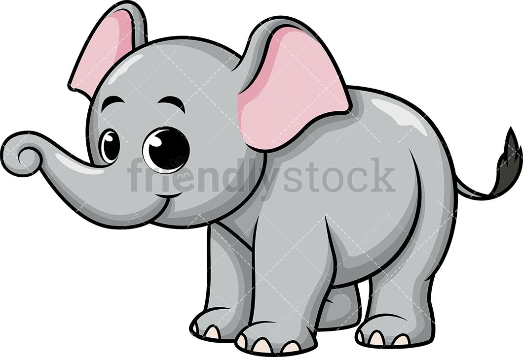 Adorable Baby Elephant  Royalty-free stock vector illustration of a cute little  elephant with big expressive eyes.  friendlystock  clipart  cartoon  vector  ... f40b64912