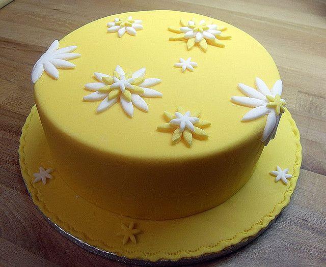 Yellow Flower Cake Side View Flower Cake Cake Cake Designs Birthday