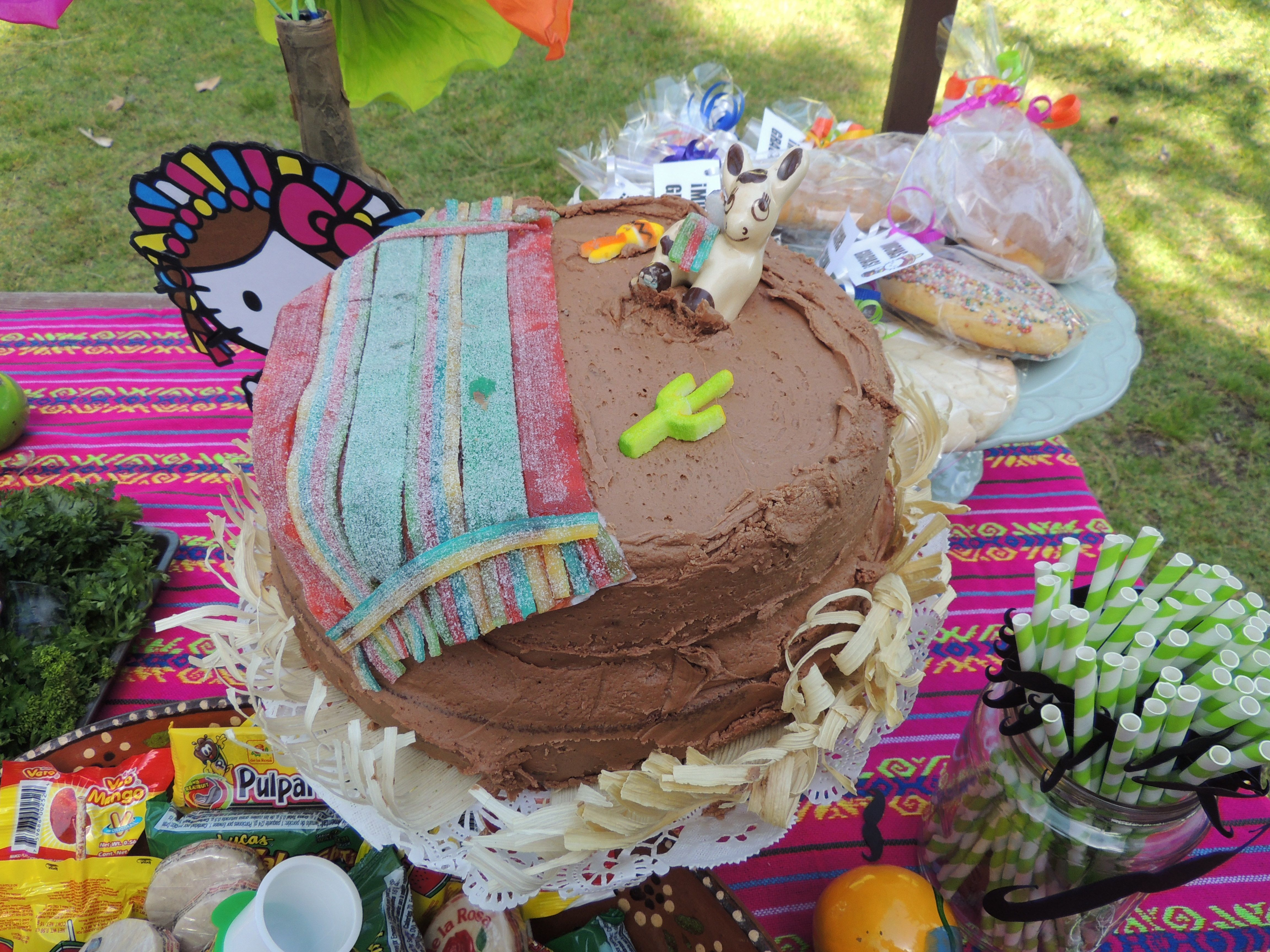 Grandma Ana made her famous chocolate cake for nyah and her decorations are so cool! She topped it with a donkey and a serape out of sour candies. #Mexican #HelloKitty #Fiesta