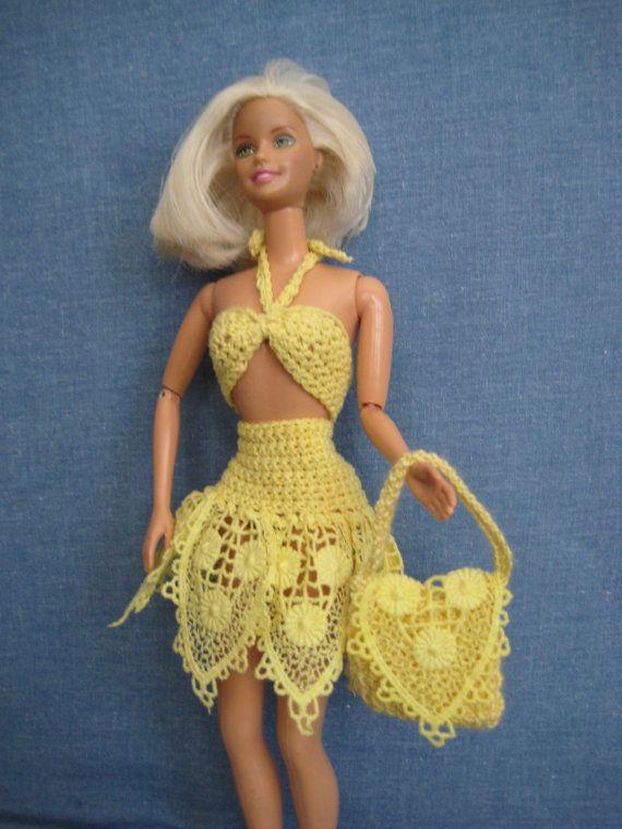 barbie dress v tements de poup e barbie jaune au par. Black Bedroom Furniture Sets. Home Design Ideas