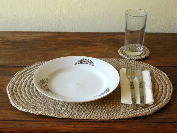 Hand Crochet Jute Placemat And Coaster / Oval Placemat / Table Decor Set /  Natural Materials / Rustic Home Decor