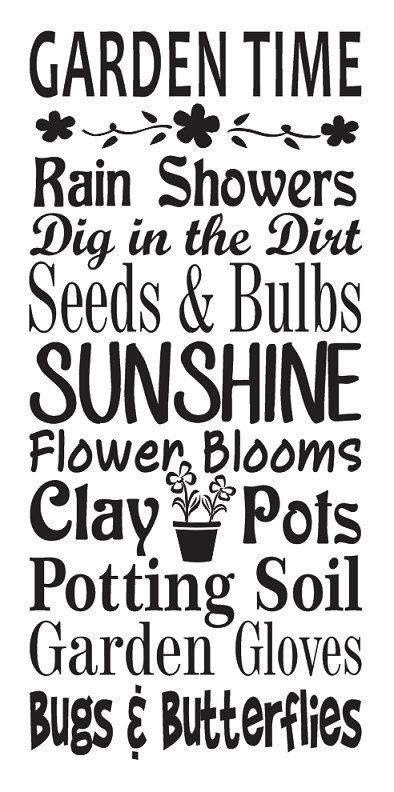 Garden Time Stencil 12 X24 For Painting Signs Wall Wood Spring